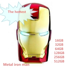 Hot sale Iron man flash drive 128gb 256gb 512gb 64gb usb flash drive Real capacity pendrive Memory Stick USB u disk gift OTG HOT