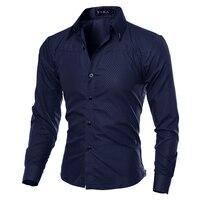 2017 Casual Shirts Men Fashion Long Sleeve Plaid Shirt Camisa Masculina Men Shirt Solid Color Shirt