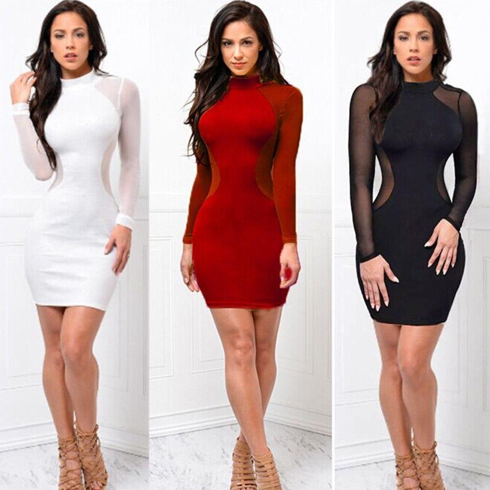 HTB1BUc2JY1YBuNjSszeq6yblFXat 2018 New Women Sexy Skinny Bodycon Long Sleeve Sheer See Through Party Slim Club Wear Casual Short Mini Dress