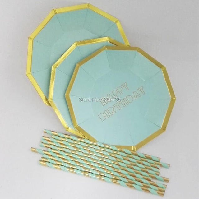 Baby First Birthday Gold Paper Plates Gold Foil Paper Straws Anniversary Bridal Shower Party Mint Blue  sc 1 st  AliExpress.com & Baby First Birthday Gold Paper Plates Gold Foil Paper Straws ...