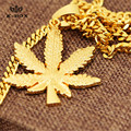 """Chapado En oro Pequeño Collar Pendiente de la Hoja Weed POT y 3mm 24 """"pulgadas Cubano Cadena Hiphop Rapero Estilo Hierba Collares de hojas"""
