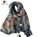 [Marte&Joven] New Retro Elephant Floral Print Scarves and Wraps for Women National Wind style Oversized Long Shawls