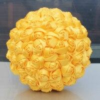 מקרית סוכריות צבע צהוב זר חתונה נישואי פרח פרח מלאכותי סרט סאטן עלה קצף כדור כלה זר W223-4