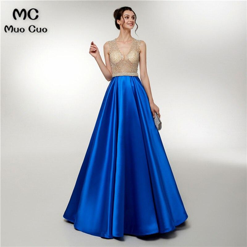 2018 Illusion Royer Blue   Prom     dresses   Long with Beaded V Neck Vestidos de fiesta Floor Length A-Line Women's Evening   Dress