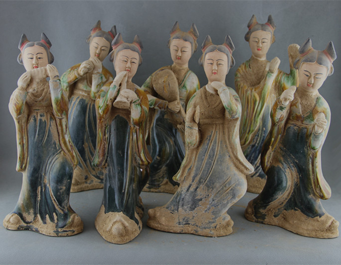 Rare Old Chinese porcelain statue,Tang three-color,printing,statue of female <b>musicians</b>, a pack of seven, Free shipping - China Cheap Products