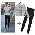 New 2017 Spring Autumn 2 Piece Set Women Ruffles Gray Casual Play Suits Sweatshirts Letter Print Women Tracksuits
