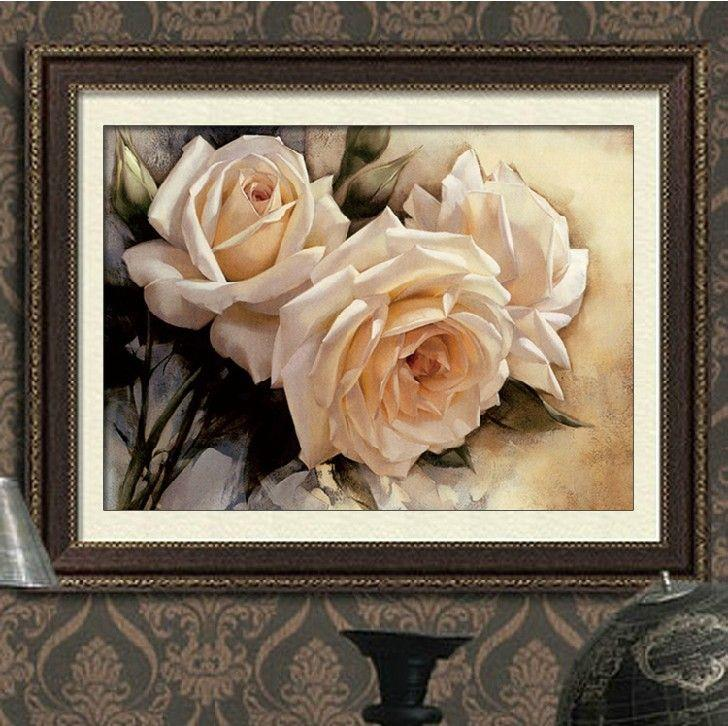 90 * 60cm Nålverk DIY Korsstygn, Set för broderi kit, rent vit ros blommönster mönster med stygn hotell dekoration