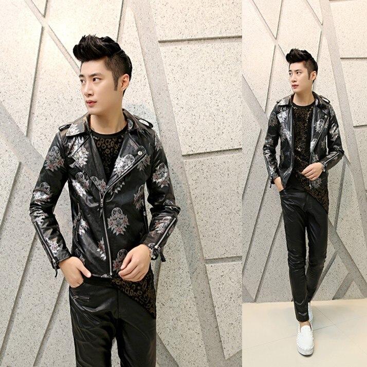 New 2017 mens fashion casual leather jacket Korean Slim Men PU jacket print hairstylist tide floral street wear leather coat