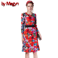 By Megyn 2016 Runway Dress Women High Quality Long Sleeve Cute Red Flowers Print Sequin Knee