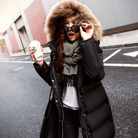 Winter Women Fashion Long Thick Warm Down Cotton Jacket Women Plus Size High Quality Fur Hooded
