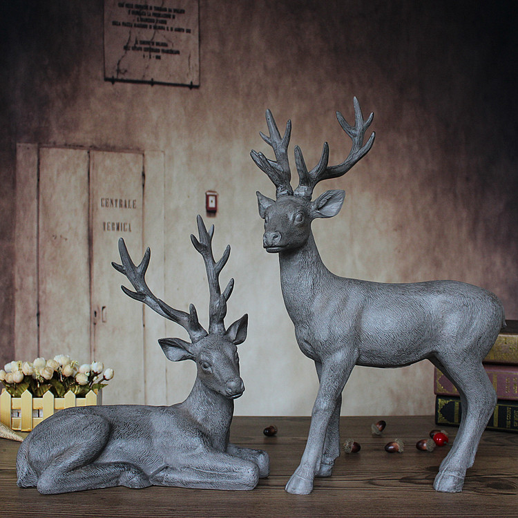 Американский кантри стиль полимерное декоративное украшение ручной работы под старину, чтобы сделать старую станцию пара оленей подарок д