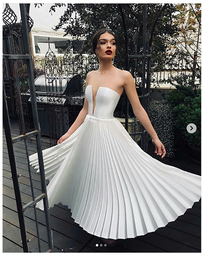 Short Wedding Dresses Vintage Satin Ankle Ledgth Wedding Dress Turkey Sexy Strapless Wedding Dress 2019