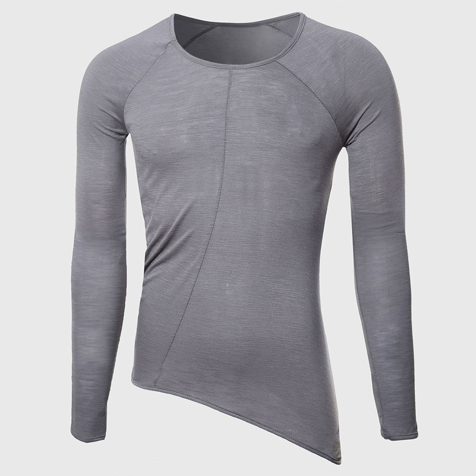 8562e5eb3d93 Fashion Longline T Shirts Men Long Sleeve Round Neck Line Top Tees Sexy  Extend T Shirt Gay Tall Asymmetrical Hem-in T-Shirts from Men's Clothing on  ...