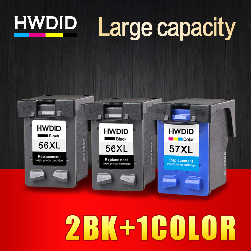 HWDID 2BK1C 56XL 57XL Refilled Ink Cartridge Replacement for HP 56 57 for HP Deskjet 450CI 5550 5552 7150 7350 7000 2100 2200 hwdid 56xl 57xl ink cartridge compatible for hp 56 57 c6656a c6657a deskjet 450ci 5550 5552 7150 7350 7000 2100 220 printer