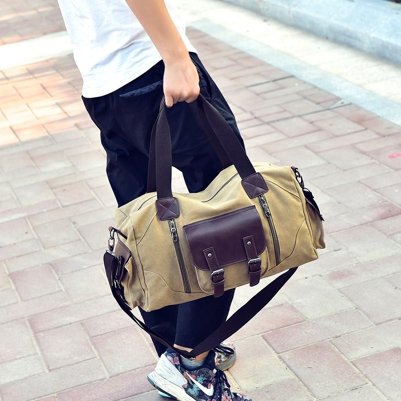 Famous Brand Men Vintage Canvas Men Travel Bags Women Weekend Carry On Luggage & Bags Leisure Duffle Bag Large Capacity Handbags (22)