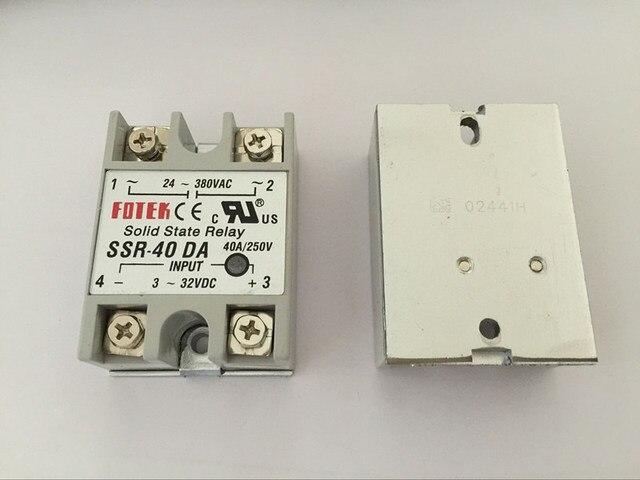 1 STÜCKE SSR40DA SSR-40DA Hersteller 40A ssr relais, eingang 3-32VDC ausgang 24-380VAC