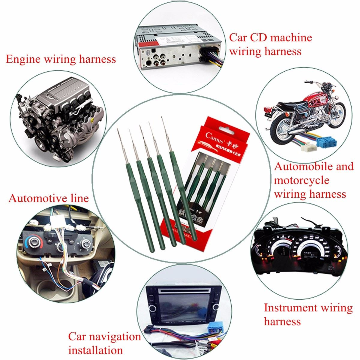 Auto Wiring Harness Terminal Removal Tools Car Sound Maintenance Navigation  Tail Wire Harness CD Tools on