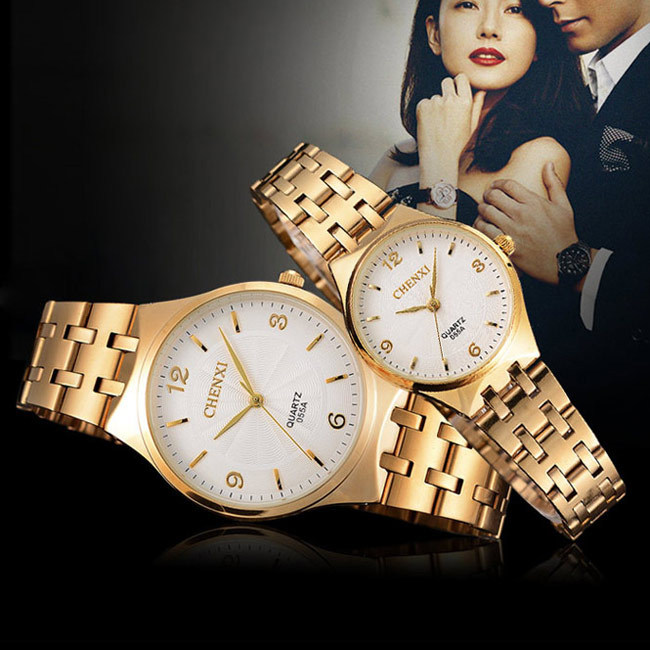 купить CHENXI Couple Lovers Watches Women Gold Watch Men Top Brand Luxury Famous Wristwatch Male Female Clock Golden Quartz Wrist Watch недорого