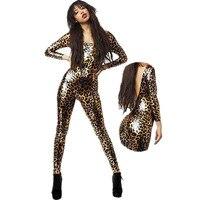 Kobiety Leopard Print Kombinezon Vinyl Skóra 2015 Panie Mody Sexy Lateks Catsuit Body W7951