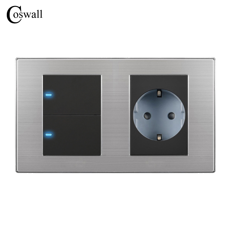 Coswall 16A EU Standard Wall Socket + 2 Gang 2 Way Push Button Light Switch With LED Indicator Stainless Steel Panel 160*86mm comfy women pointed toe square high heels office shoes woman flock ladies pumps plus size 34 40 black grey high quality