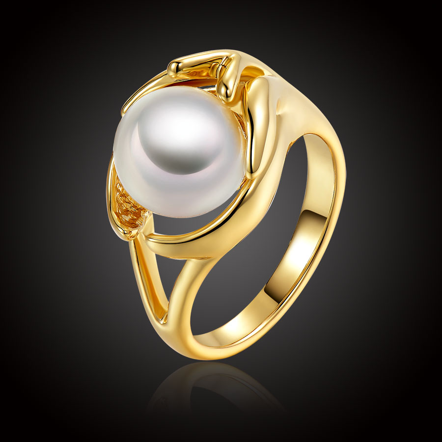 New Fashion Jewelry Rings Classic Delicate Plated Imitation Pearl Rings  Woman Girl Wedding Anniversary Bijoux Bague