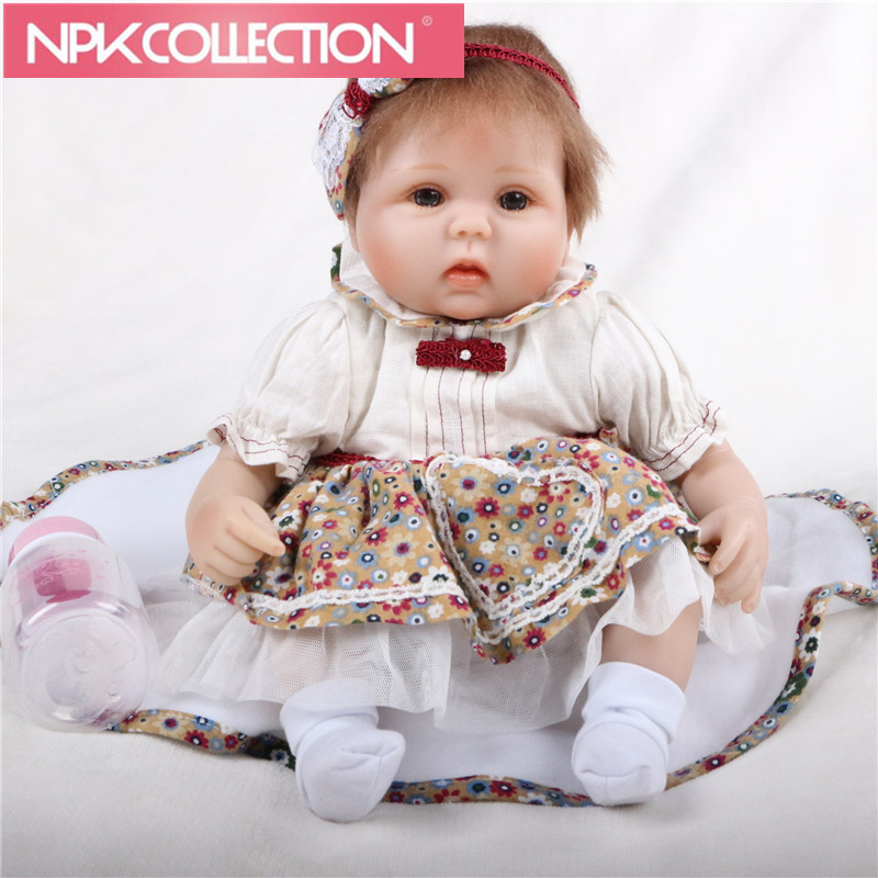 New 17 inch Reborn Dolls So Truly Soft Silicone Babies Doll For Toddler Baby Toy Cloth Body Realistic bebe Alive Reborns N141