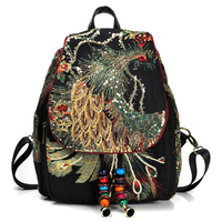 2018 Women's Backpack Fashion embroidery Peacock sequins Pattern Backpack Ethnic style shoulder bag