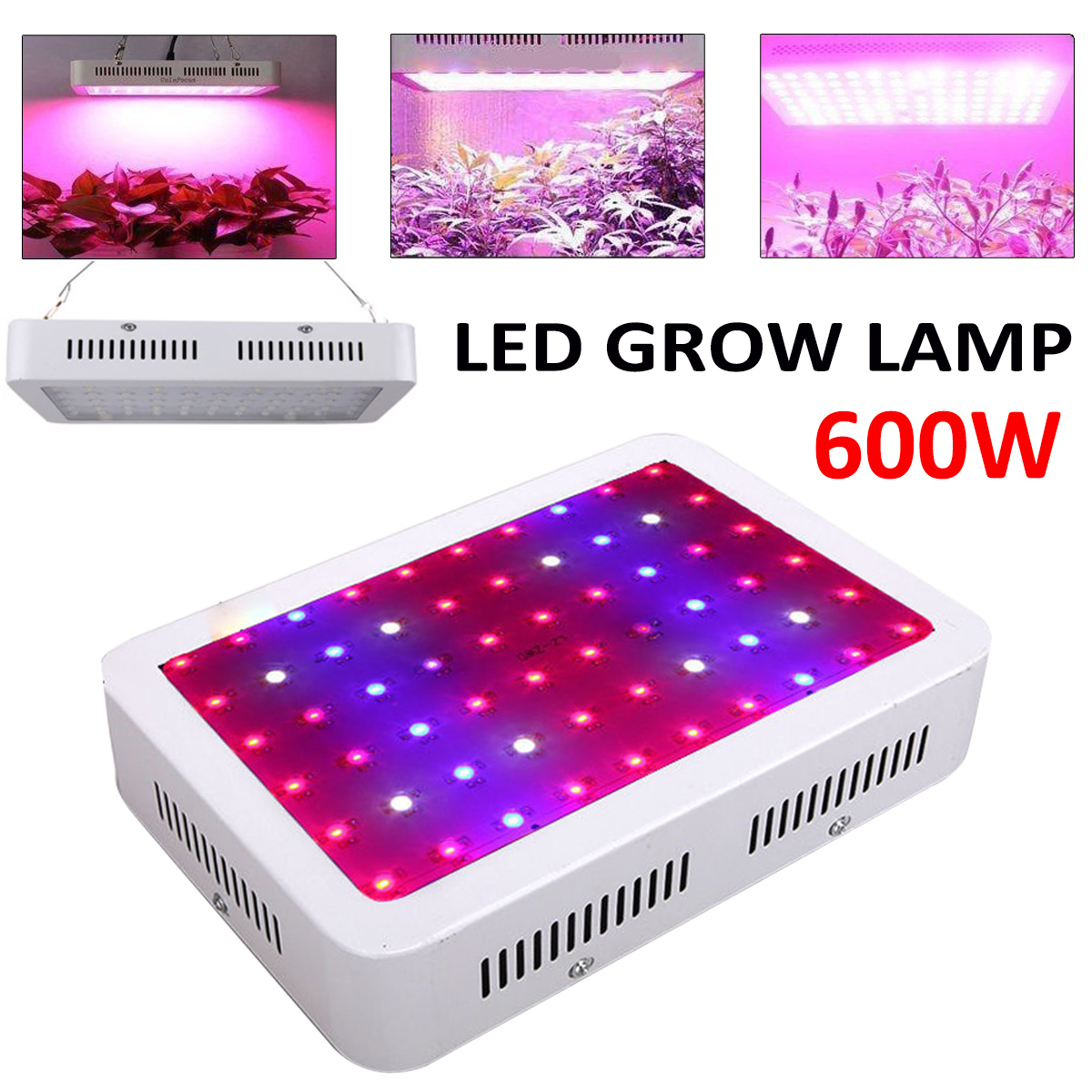 600W Full Spectrum UV IR 60LEDS Hydroponic Plant Grow Light Indoor Lamp Kit for Greenhouse Plant and Flower Plant Growth Lamp pro fitness breast enhancement instrument vacuum infrared heating suction cup breast enhancement massager beauty device gifts