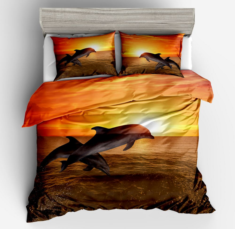 Lai Yin Sun Drop shipping Duvet cover sets Pillow cases  Latest 3d Dolphins in Golden Sunset HD digital print bed setLai Yin Sun Drop shipping Duvet cover sets Pillow cases  Latest 3d Dolphins in Golden Sunset HD digital print bed set