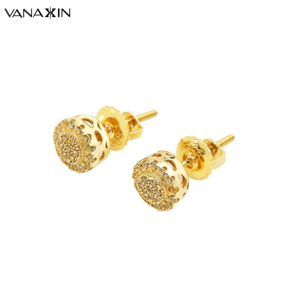 VANAXIN 925 Sterling Silver Stud Earrings Emas Warna AAA Cubic Zirconia Boucles D oreilles Punk Pria Wanita Mini Anting 2019