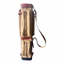 Tourbon Canvas Pencil Style Golf Club Carrier Vintage Leather with Side Pockets Clubs Interlayer Cover Golf Gun Bag Case 87CM