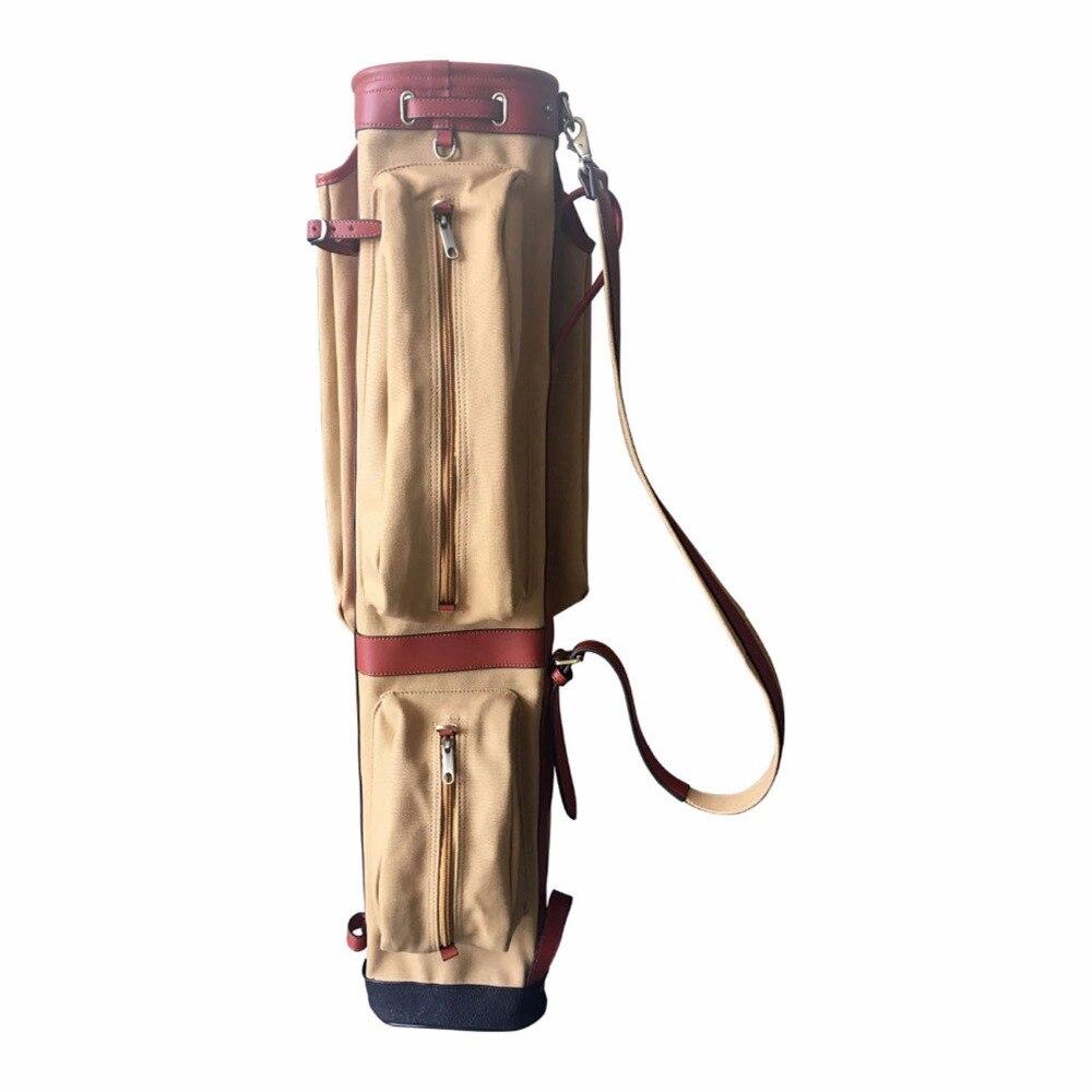 Prix pour Tourbon Toile Crayon Style De Golf Club Transporteur Vintage En Cuir avec Poches Latérales Clubs Intercalaire Couverture De Golf Pistolet Sac Cas 87 CM