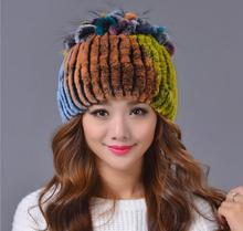 High-end Womens Fur Hats Handmade Knitted Real Rex Rabbit Fur Hat Personality Design Women Beanies With Fur Pompom MS-13