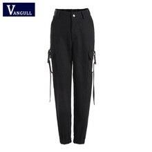 Vangull Black High Waist Cargo Pants Women Pockets Patchwork Loose Streetwear Pencil Pants 2019 Fashion Hip Hop Women's Trousers
