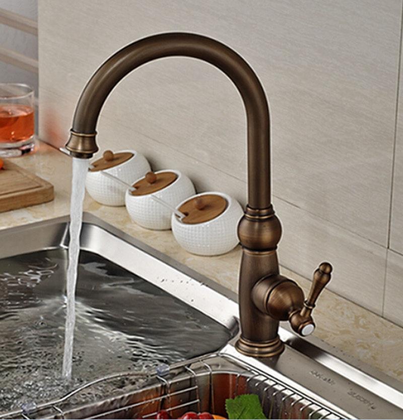 Contomporary Antique Brass Kitchen Faucet Hot&Cold Faucet Waterfall Spout Tap antique brass swivel spout dual cross handles kitchen