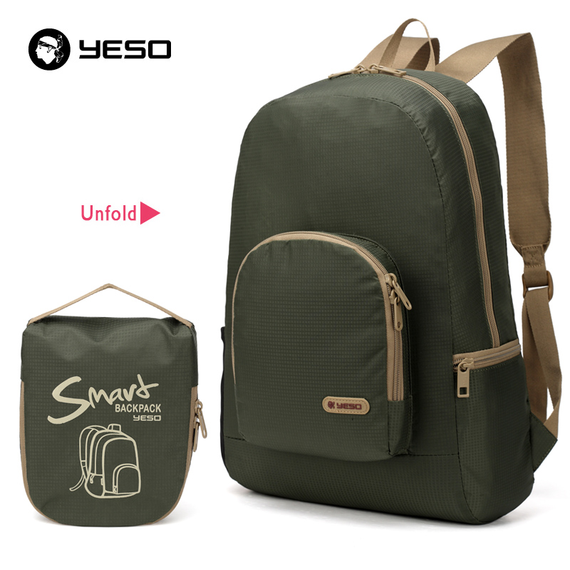 YESO New Men Foldable Backpack For Teenager Fashion Casual Travel Backpack Waterproof Portable Folding Backpack Women Nylon Bags