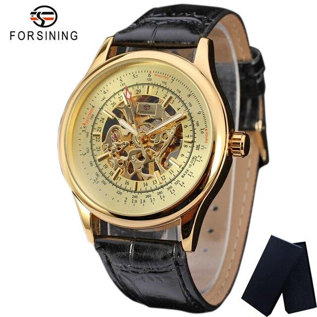 FORSINING Relojes Para Hombre Deporte Ejército Militar Reloj Masculino  Relojes Esqueleto Mecánico de la Mano del b385255b8777