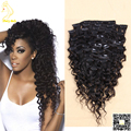 Virgin Peruvian Curly Clip in Human Hair Extensions Unprocessed Remy Human Hair Clips Ins Human Hair Extension for Black Women