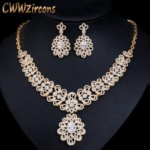 Женский комплект ювелирных изделий CWWZircons, ожерелье и серьги из стерлингового серебра с желтым золотом в Дубае