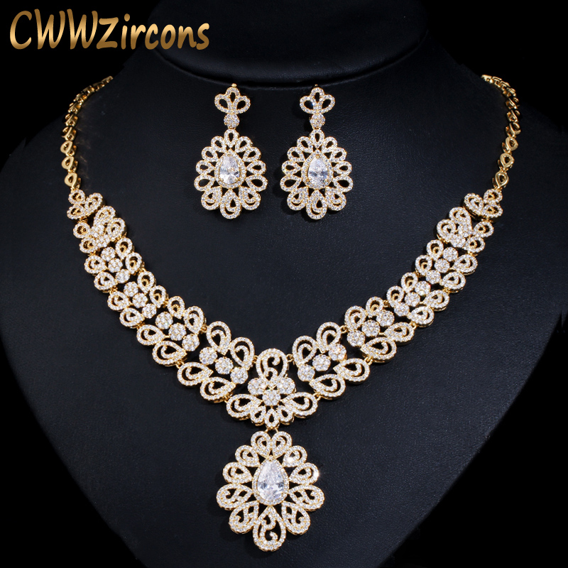 CWWZircons Nigerian Cubic Zirconia Big Wedding Necklace and Earrings Luxury Dubai Yellow Gold Jewelry Sets For Women T130CWWZircons Nigerian Cubic Zirconia Big Wedding Necklace and Earrings Luxury Dubai Yellow Gold Jewelry Sets For Women T130