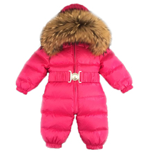 Baby Jumpsuits Boy Girl Winter Overalls Baby Romper White Duck Down Jumpsuit Raccoon Fur Collar Children Outerwear Kids Snowsuit