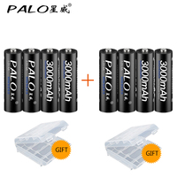PALO 8Pcs AA Bateria Rechargeable Battery AA NiMH 1 2V 3000mAh Rechargeable Batteries For Remote Control