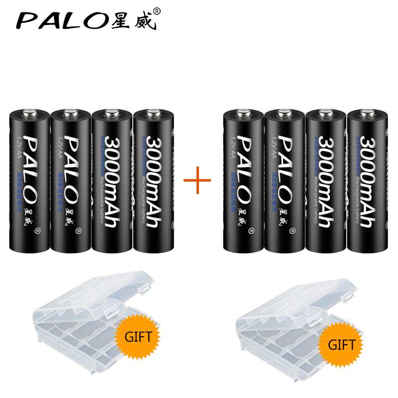 PALO 8Pcs AA Bateria Rechargeable Battery AA NiMH 1.2V 3000mAh rechargeable batteries for Remote Control Toy camera new 1pc aa 3000mah 1 2v rechargeable battery nimh tip head batteries baterias bateria for flashlight torch camera mp3 mp4