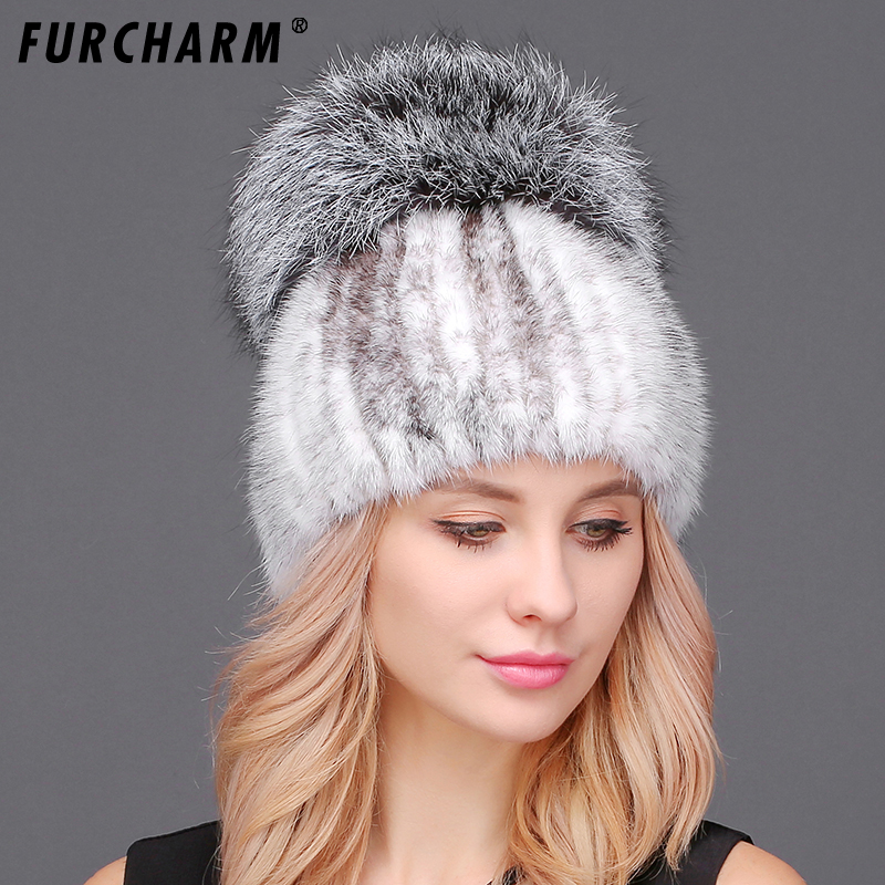 Mink Fur Knitted Caps for Women High Quality Mink Hat with Luxury Fox Fur Ball Pompons Female Women's Hats Winter Beanie