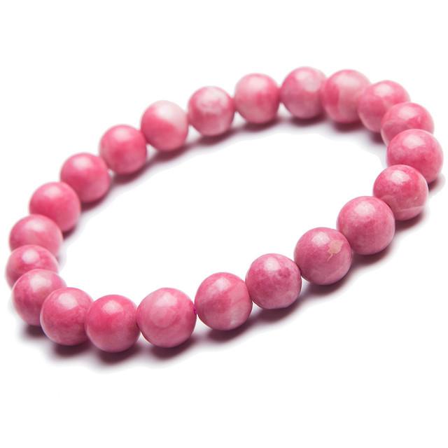 Um único 9mm Natural Rosa Pink Rhodonite Pedra Redonda Bead Pulseiras Para Mulheres Femme Charme Amor Estiramento Pulseira Pulseiras