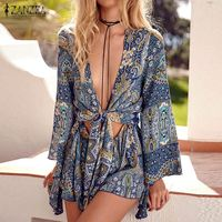Vintage ZANZEA Rompers Womens Jumpsuit 2017 Sexy Ladies Deep V Neck Long Sleeve Ruffled Print Overalls