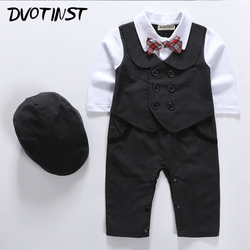 de3deedeb Baby Boys Full Sleeves Gentleman Bow Tie Rompers+Hat Set Outfit Event Infantil  Wedding Jumpsuit Party Birthday Clothing Costume-in Rompers from Mother ...