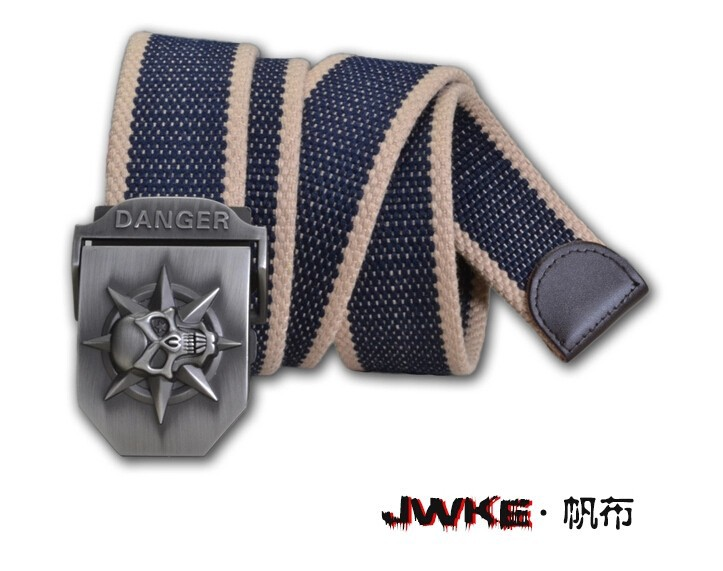Fashion men's Canvas belt skull Metal tactics woven belt canvas belt Casual pants Cool wild gift for men belts Skull large size 21