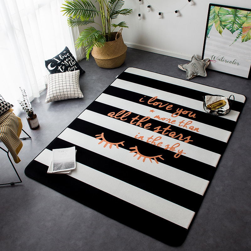 New Nordic Style Decor Flannel Velvet Deer Pattern Big Living Room Floor Kid Crawling Play Mats Rugs Table Are Rugs Carpets - 6