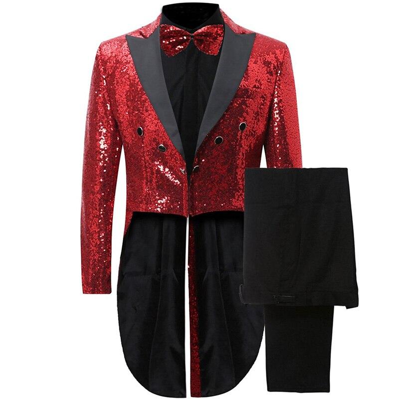 ترتر أحمر رجل الذيل معطف ل المغني حفلة موسيقية 2019 الكلاسيكية نمط عشاء مزدوجة الصدر 2 قطعة سترة الأسود السراويل مخصص-في بدلة من ملابس الرجال على  مجموعة 1